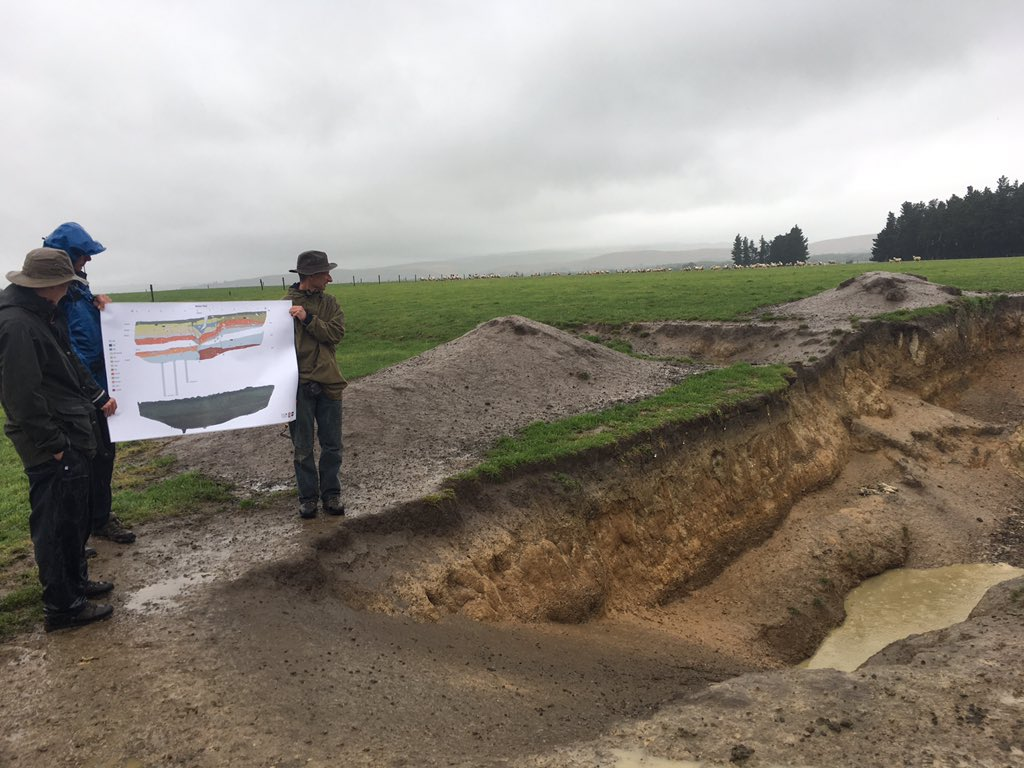 Last stop, Humps fault 2016 rupture with Jarg Pettinga & interactive trench log interpretation by @UCNZgeology student Thomas Brough & Russ VD @gnsscience . Still wet.