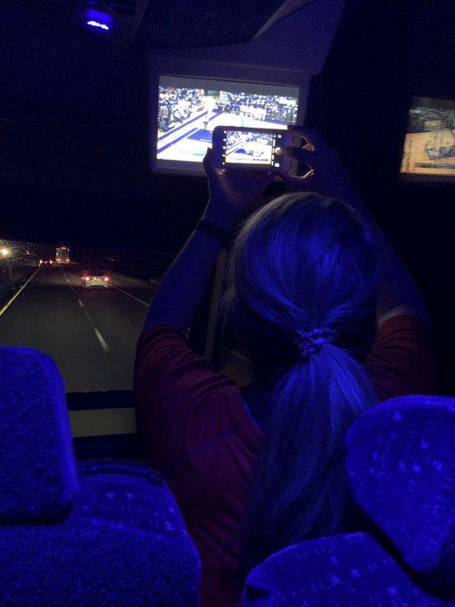 Proud mom @dobeedobee watching her son @scottiep55_ on the bus trip up to Auburn tonight! Photo