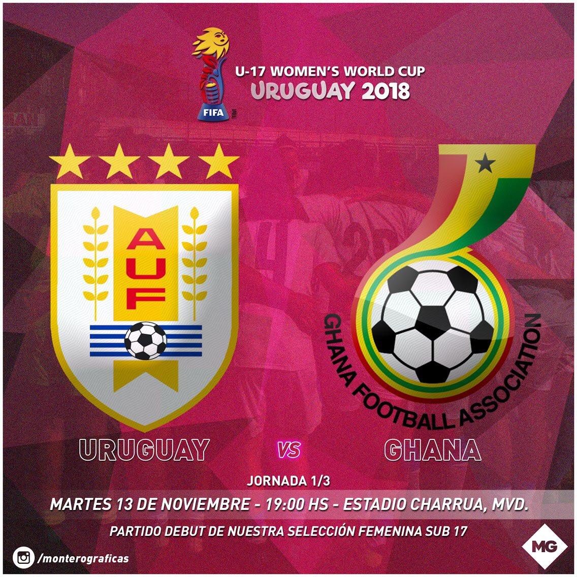 Próximo Martes, en el Estadio Charrua, Uruguay Femenino SUB17 Debuta en su mundial, en su tierra, frente a Ghana, a las 19:00. Vamos Uruguay! #ApoyemosElFutbolFemenino  #U17WWC  #MundialFemeninoSub17 #Uruguay2018 #VamosUruguay