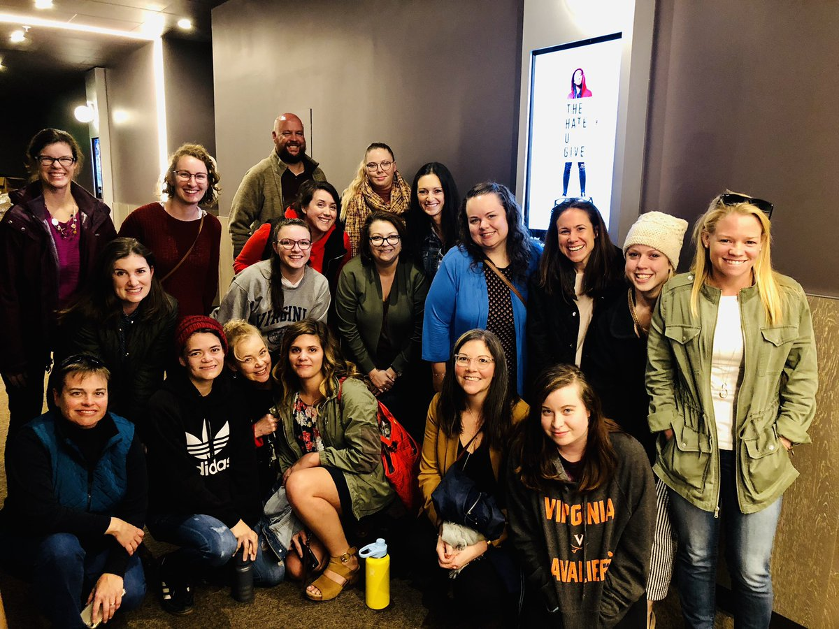 "Now that Q1 grades are ✅, teachers from 8️⃣ different @AlbemarleHigh departments gathered to screen & discuss @angiecthomas ""The Hate U Give."" Together, we are creating a more equitable @k12albemarle, one relationship at a time. Thanks for the opportunity @DrJesseTurner !"