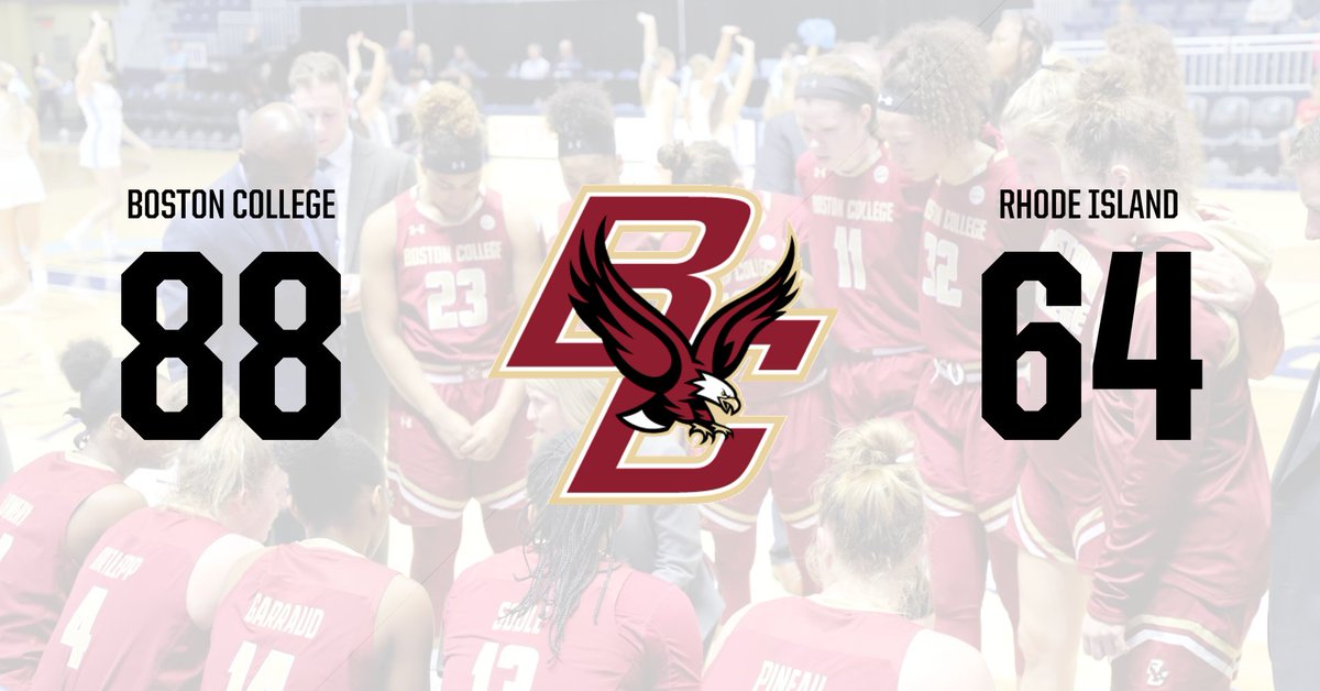 It's final here at the Ryan Center - #BC opens up the 2018-19 season with a win over Rhody!  #WeAreBC