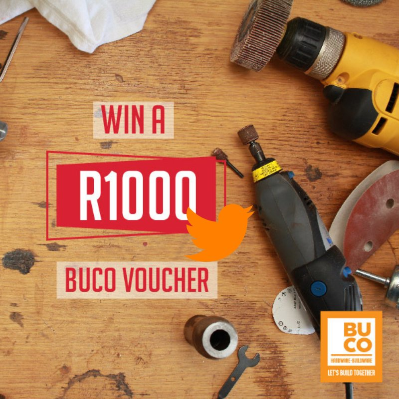 RETWEET this post for a chance to WIN a tweeting good R1000 #BUCOHardware voucher! Winner announced on 19 November! #LetsBuildTogether