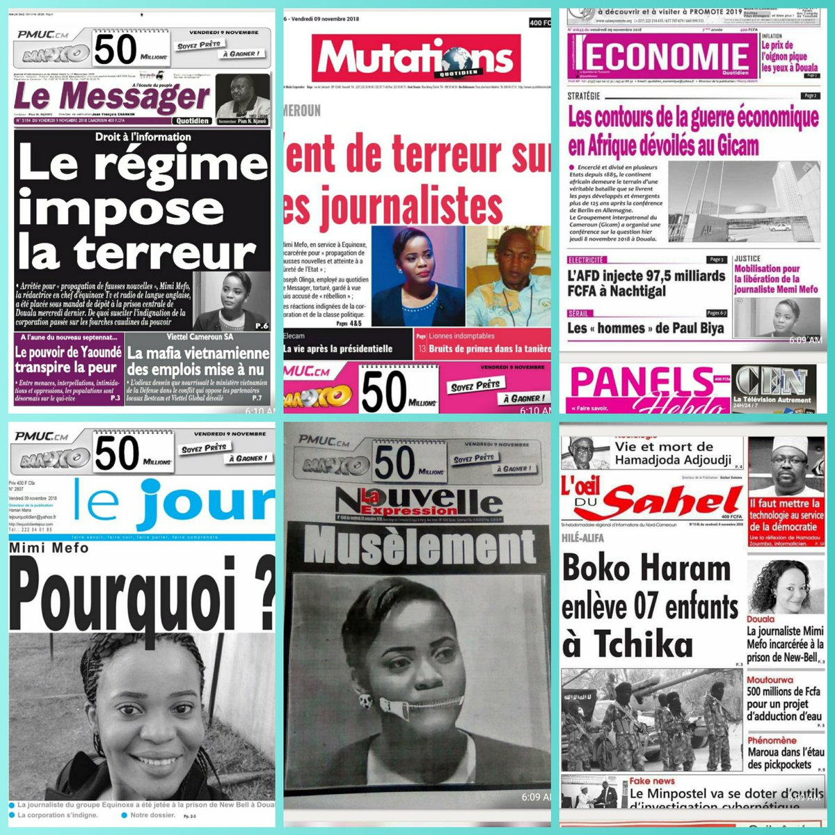 Newspapers this morning  #FreeMimiMefo