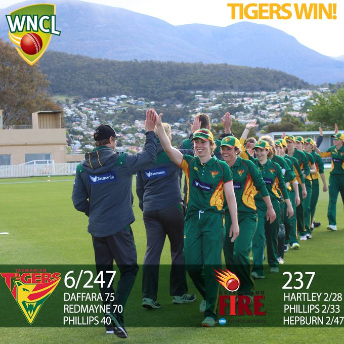 Our Tigers win a close one at the TCA Ground! 🙌 #WNCL Photo