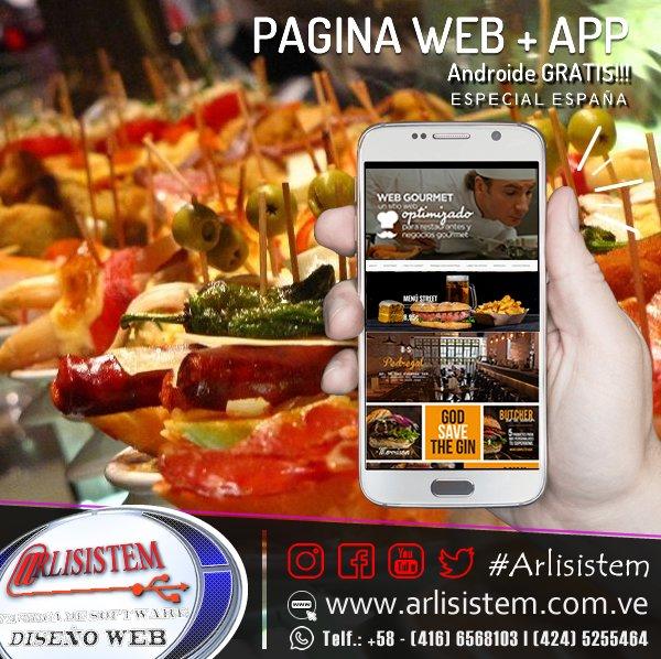 Hoy especial para #Restaurant tenmos la promo #PaginaWeb + #App Gratis!!!  +58 4166568103 - 4245255464  ventas@arlisistem.com.ve  http://www.arlisistem.com.ve #RestauranteEs #Fonda #Aragón #espana #Canarias #Cantabria #ForaldeNavarra #Valenciana #PaísVasco #Murcia #esteponapic.twitter.com/JmzE3zlJEt