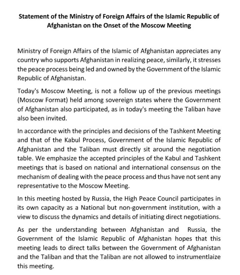 Statement of the Ministry of Foreign Affairs of the Islamic Republic of Afghanistan on the Onset of the Moscow Meeting