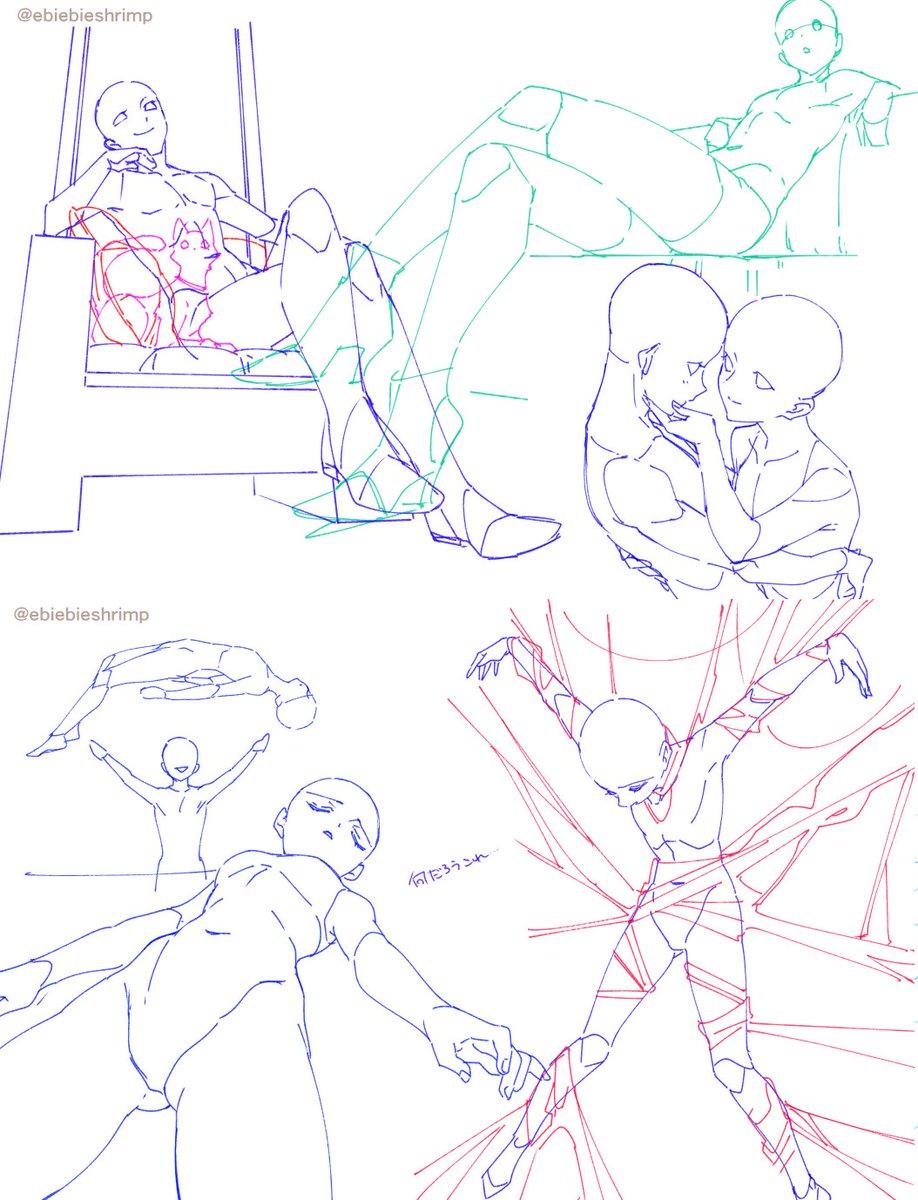 ポーズ練習で描いたものあれこれ。特にキャラのせしないのでトレス素材にできそうならどうぞお使いください。※そのままでも好きな箇所の切り取りでも可。※二次配布はご遠慮ください。