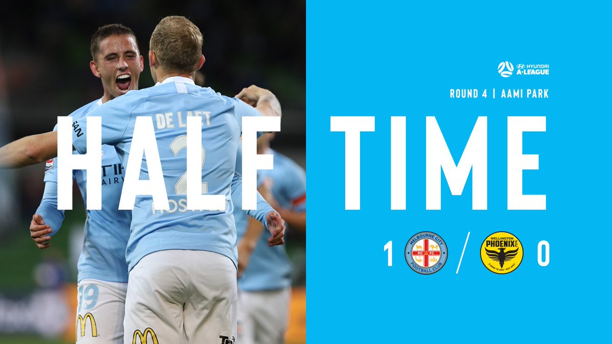 RT @MelbourneCity: HT | City 1-0 Wellington  @de_laet_r's booming strike the difference at the break. #MCYvWEL https://t.co/V4WNxkly5F