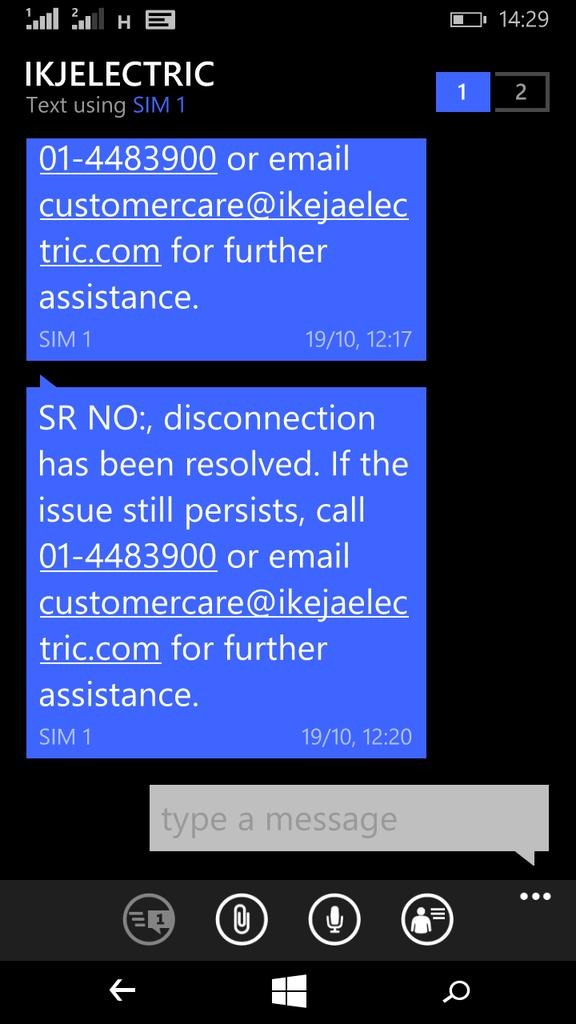 SR-511106 @ieServe is yet to resolve issue since April '18 but sent false SMS of resolution. @ElectricityNig
