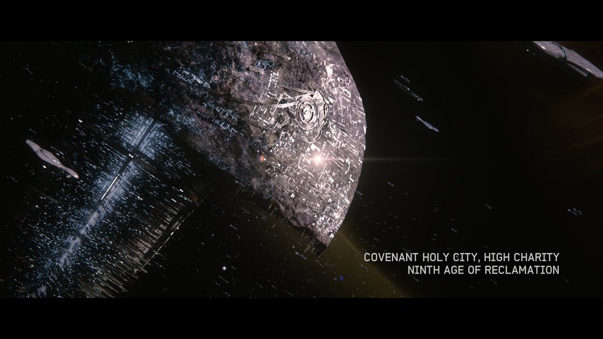 The Covenant holy city of High Charity was an enormous mobile space station that served as the political and military capital of the star-spanning alien empire. #FictionFriday halowaypoint.com/en-us/universe…