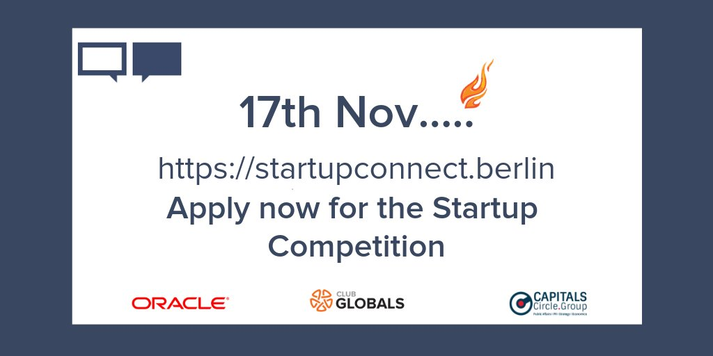 The 4th StartupConnectBerlin event is back 🎉🙌 Quick, apply now for the Startup Competition! 😀  https://startupconnect.berlin/   #SCB18 #oracle #startup #competition #Pitch #Worldinnovationsforum #ClubGLOBALS #event #Media #investors #Corporates #Network #Berlin