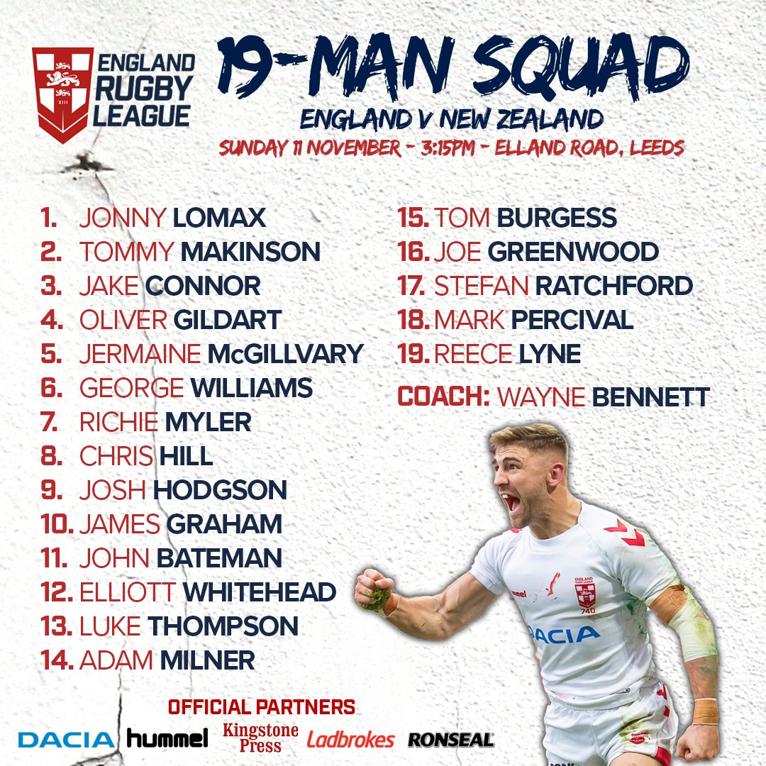 Wayne Bennett has confirmed his 19-man squad for our final Test match against the @NZRL_Kiwis this Sunday at Elland Road