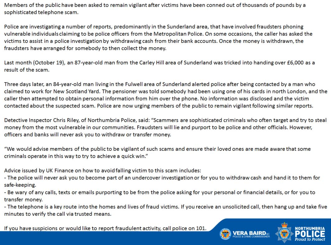 Northumbria Police on Twitter: