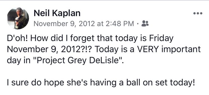 And on today's episode of #FlashbackFriday, there's this fun memory involving @GreyDeLisle. And if memory serves me correctly, she DID have a blast on set that day. Photo