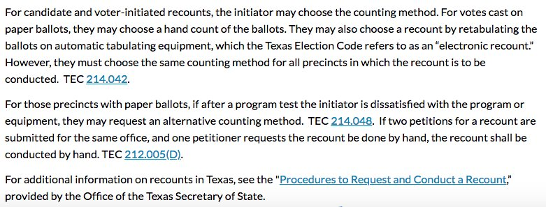 """We need to fight for every seat, right? Democracy at stake?  So, how about a #TexasRecount?  #BetoForSenate has until SUNDAY to request a recount. &quot;a candidate..may obtain an initial recount..if: the difference in the number of votes..is &lt;10% of that candidate's number of votes."""" <br>http://pic.twitter.com/sf14YWAw2k"""