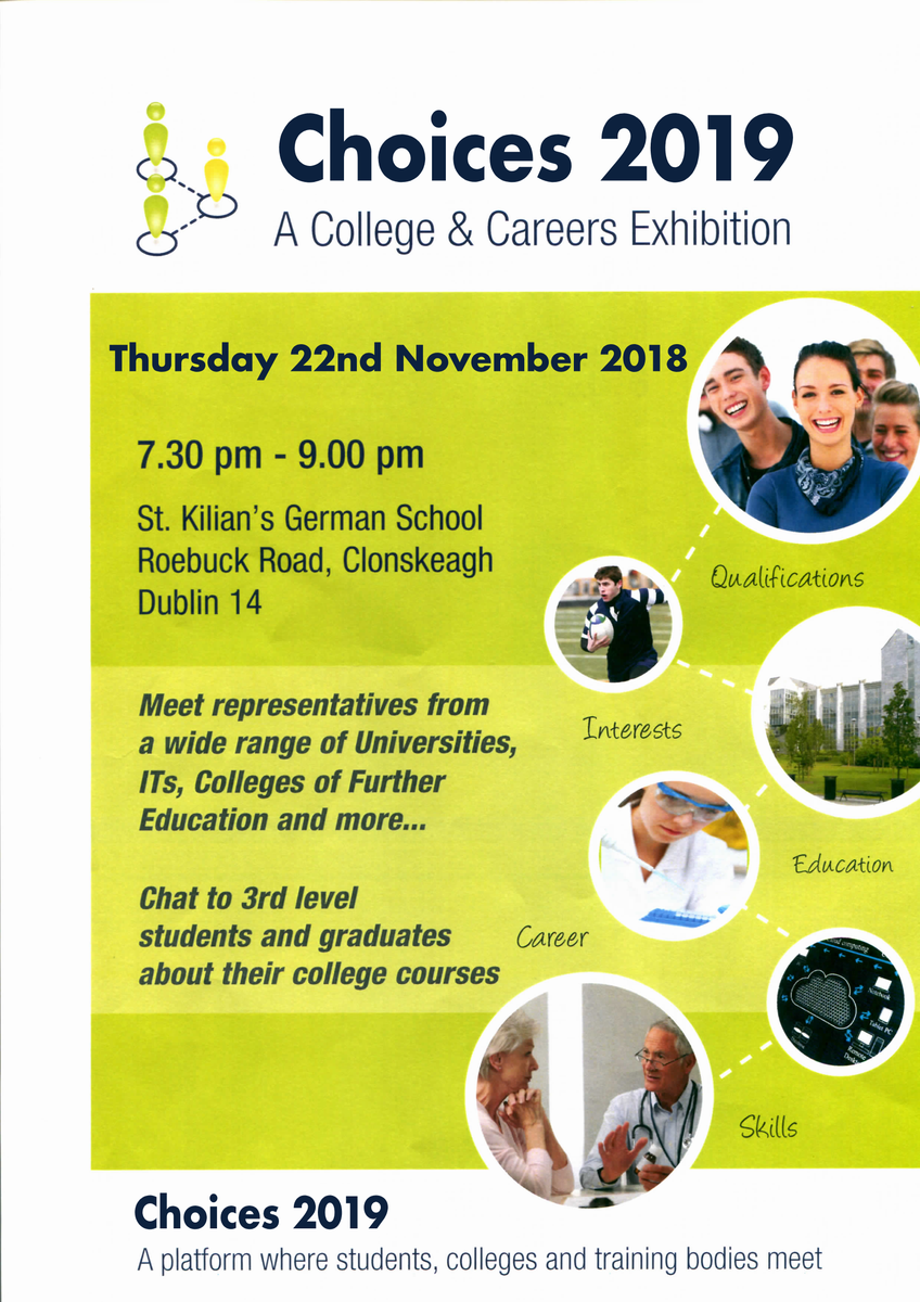 test Twitter Media - Choices 2019 Careers Fair is coming up soon here at St. Kilian's. Meet students & representatives from third level institutions @tcddublin @UCDSU @DestinationDCU @ditofficial https://t.co/RGfXQAo6hL