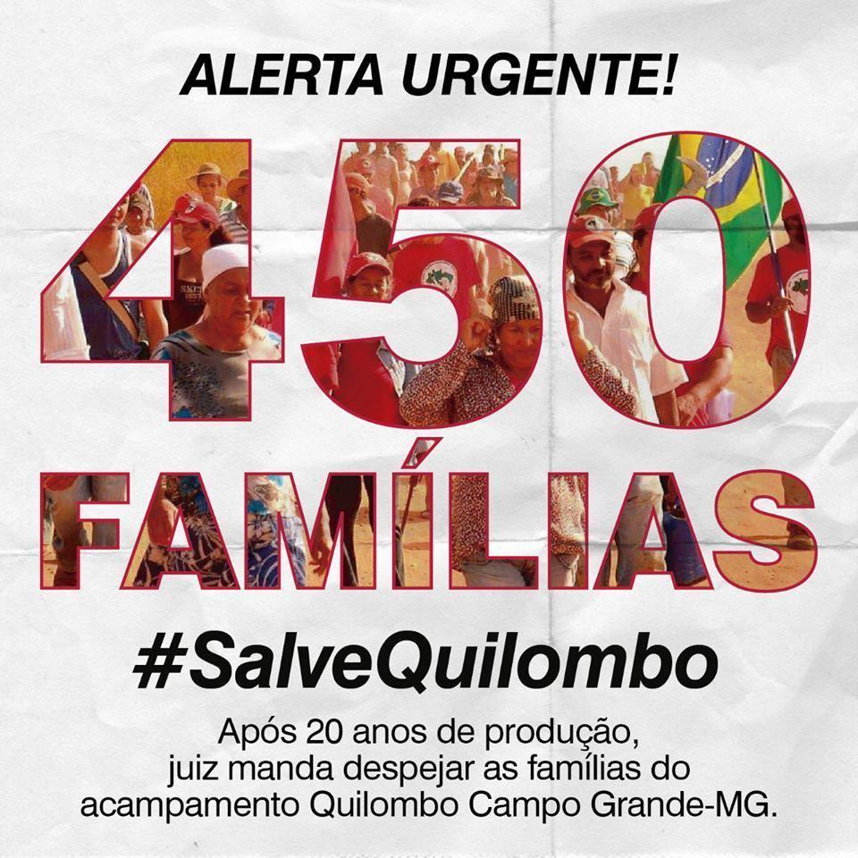 DENÚNCIA! Após 20 anos de produção, juiz manda despejar famílias do acampamento Quilombo Campo Grande. Com decisão, serão destruídos 1.200 hectares de lavoura de milho, feijão, mandioca e abóbora, 40 hectares de horta agroecológica, 520 hectares de café. #SalveQuilombo