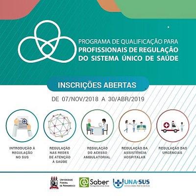 Matrículas abertas para o Programa de Qualificação para Profissionais de Regulação do Sistema Único de Saúde. Participe!  https://t.co/OqoRLNloK0