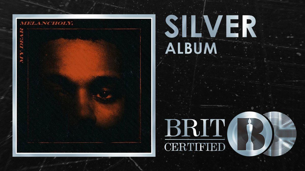 Its #BRITcertified Silver for @theweeknds 2018 EP My Dear Melancholy featuring his latest single Call Out My Name! 🇬🇧💿