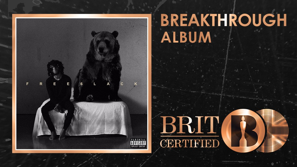 🙌 @6lack has just been awarded his first ever #BRITcertified award for his debut album Free 6lack! Congrats! 🇬🇧📀