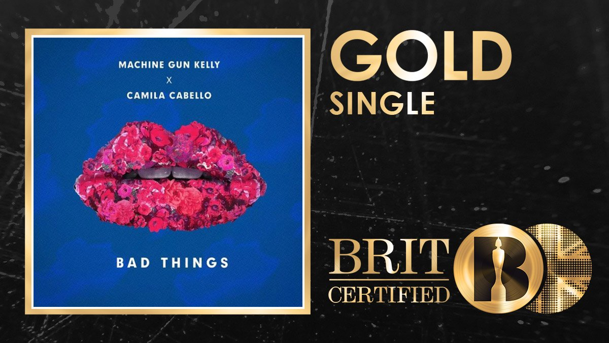 Some good news for @machinegunkelly and @Camila_Cabellos Bad Things, its now a #BRITcertified Gold seller! 🇬🇧📀