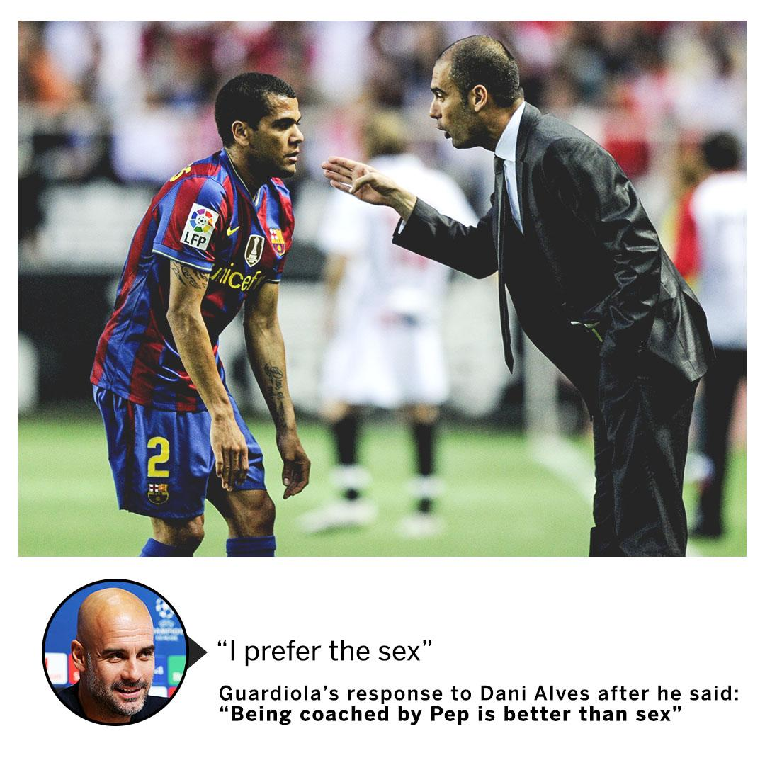 Find yourself someone who loves you the way Dani Alves loves Pep Guardiola's coaching... https://t.co/SgmYUo1ser