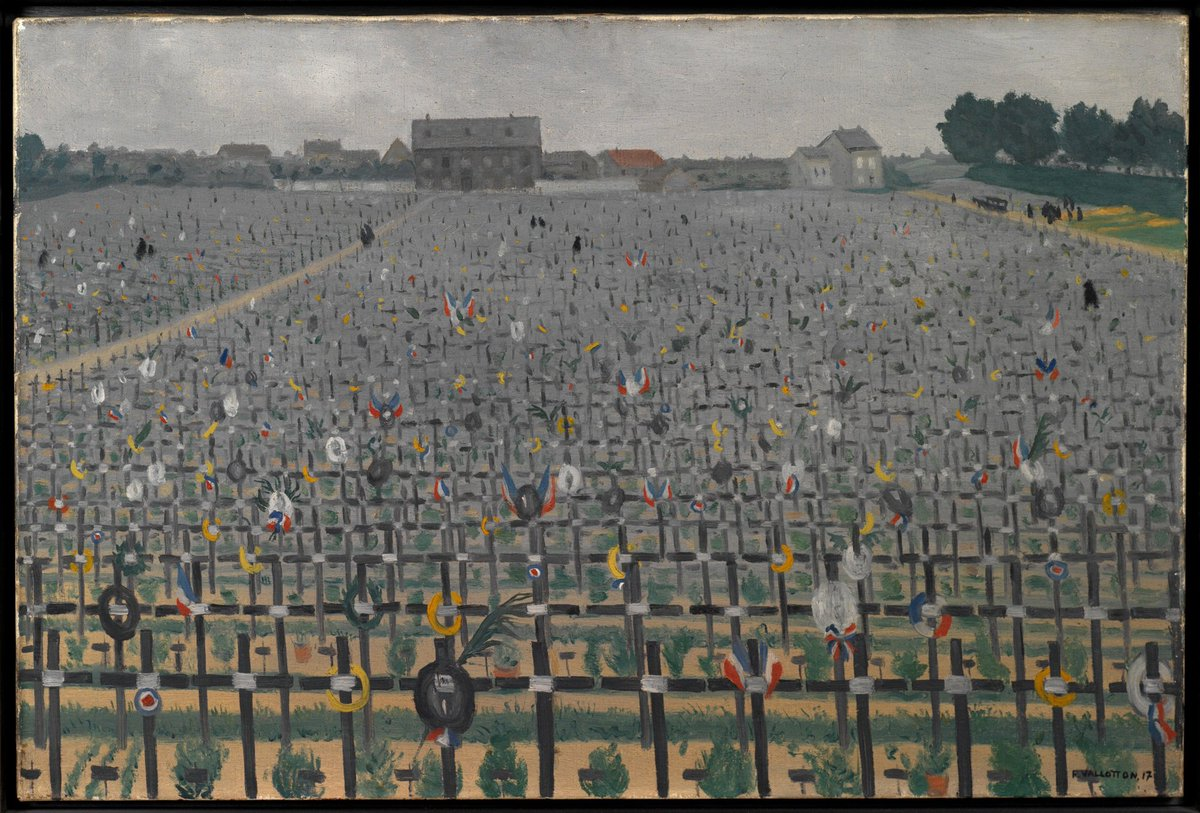 The 1918 Armistice between Germany and the Allied powers signalled the end of the fighting on the Western Front, which came into place at 11.00 on 11 November. (Painting: military cemetery of Châlons-en-Champagne by artist Felix Vallotton, 1917.https://t.co/BuP7dumYqt)