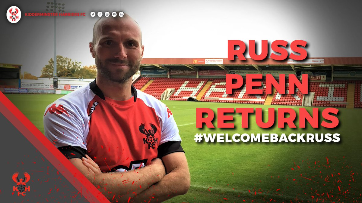 📝✍ Harriers are pleased to confirm the return to Aggborough of combative midfielder Russ Penn! #WelcomeBackRuss