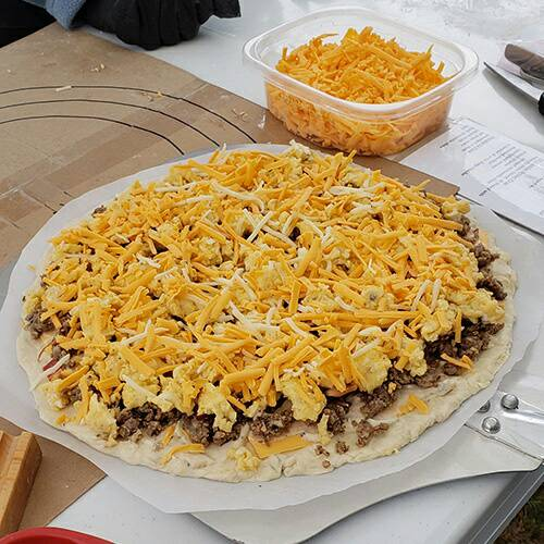 Chris On Twitter Breakfast Pizza About To Go In The Pizza
