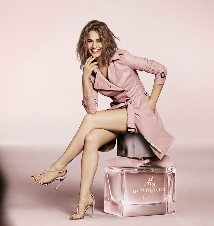 Lily james poses naked in her first campaign for burberry perfume