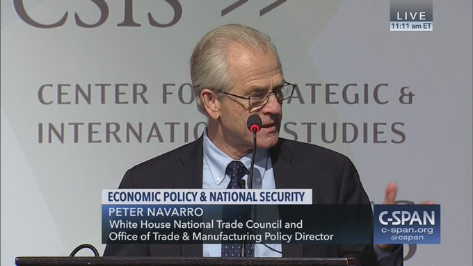 On the left: WH trade policy director Peter Navarro right now speaking live on C-SPAN via @csis - - - - - - - - - - - - - - - - On the right: #FlashbackFriday ... an ad for Peter Navarro congressional race, seen in April 23, 1998 @sdreader Photo