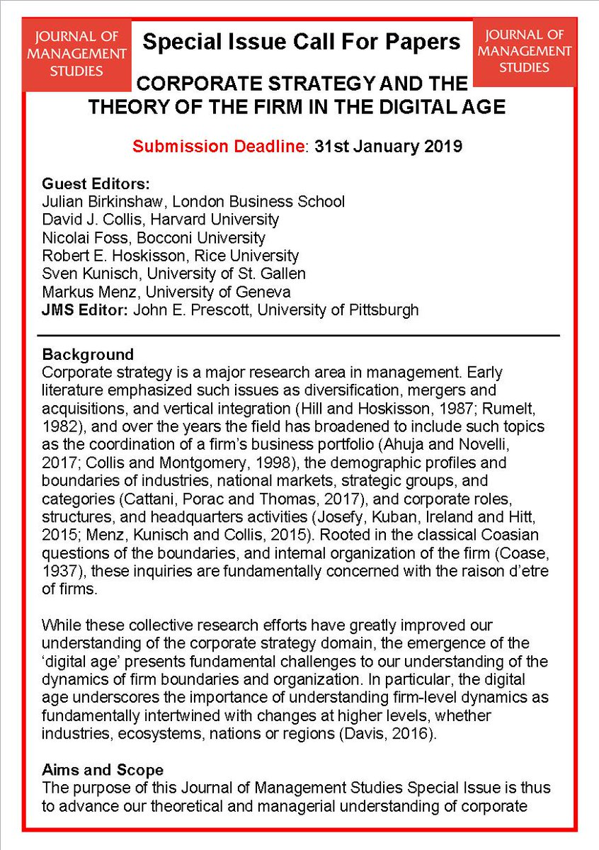 JMS On Twitter Special Issue Call For Papers Corporate Strategy