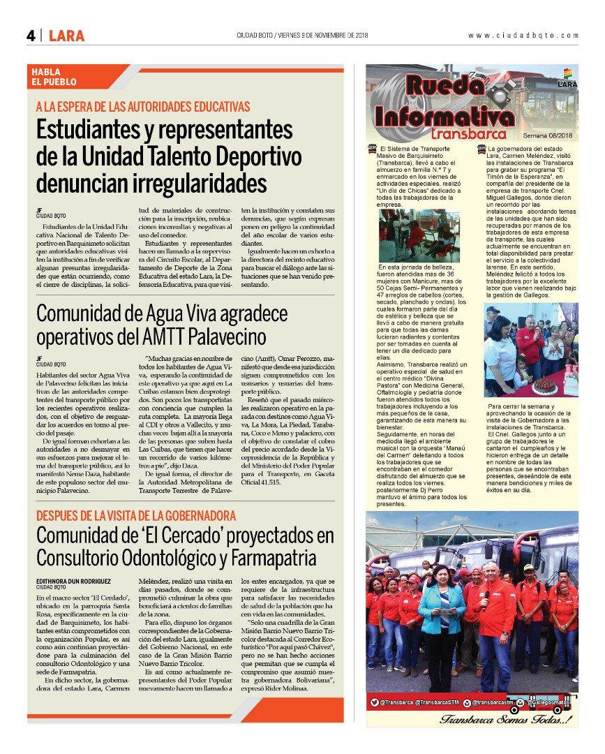 RT @gestionperfecta: #9Nov Aquí la versión de este viernes de @Ciudad_BQTO #LaraEnDesarrollo https://t.co/8o894VcrHT