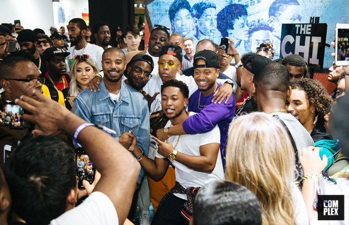 Can't get enough of #TheChi? Well, @hillmangrad,@jacoblatimore  &  pu@Eat_My_Shorts95lled up to !#ComplexCon   The vibrant, interactive installation brought South Side  #Chicagoto life in Long Beach  https://t.co/TznDwNTV2U Powered by @SHOTheChi