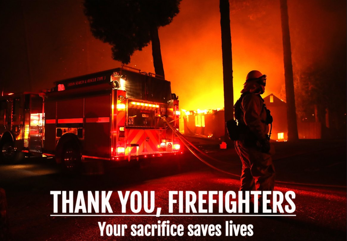 They run in as we run out. Big thank you to the brave men and women battling the deadly #CampFire in Butte County.