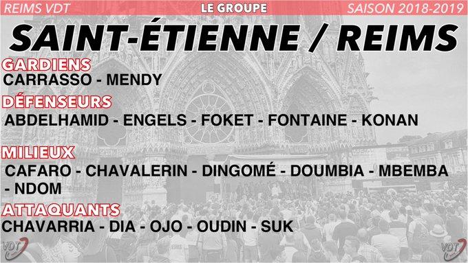 🔴⚪️ Le groupe de #Reims pour aller affronter Sainté | #ASSESDR ➡️ À noter que Romao est suspendu suite à rouge et que Martin est blessé. Photo