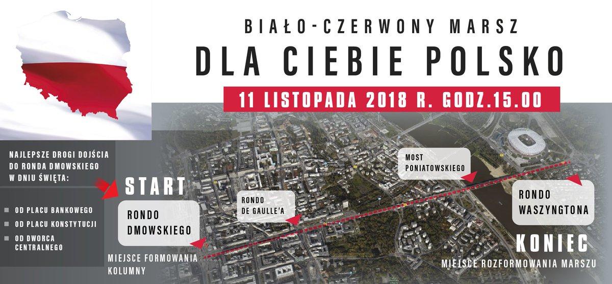 """Zapraszamy na wspólny Biało-Czerwony Marsz 11 listopada.   W niedzielę o godz. 15.00 rozpocznie się wspólny Biało-Czerwony Marsz 🇵🇱pod hasłem """"Dla Ciebie Polsko"""", organizowany z okazji 100. rocznicy  odzyskania przez Polskę niepodległości. #PL100  Więcej: https://bit.ly/2qBW4ZV"""