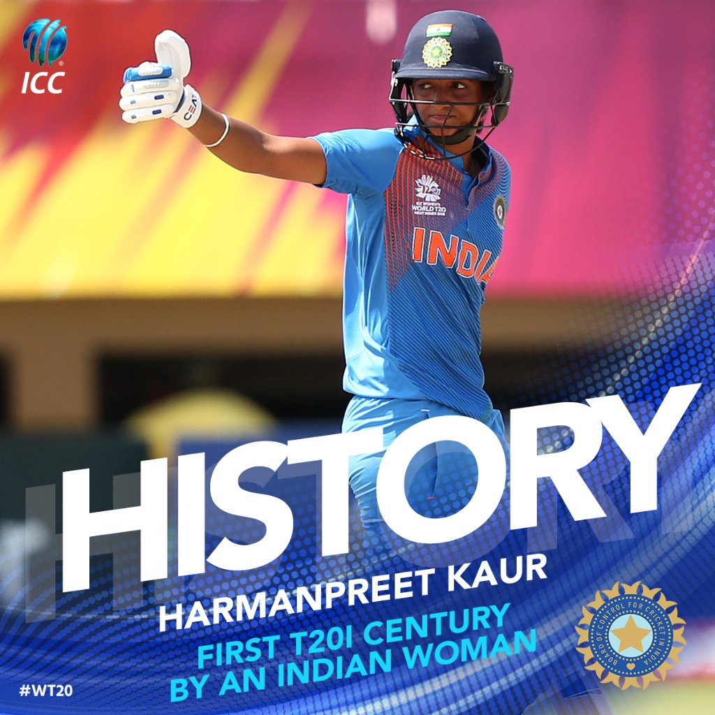 History created in Guyana with @ImHarmanpreet becoming the first Indian woman to blast a T20I century, putting her nation in position for a first-up win at the @WorldT20.  Follow here ➡️ https://t.co/a3tZXV2vZA #WT20 #WatchThis 👀