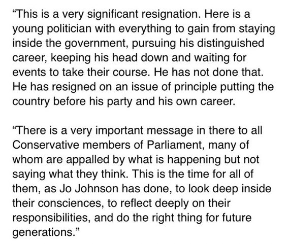 Michael Heseltine on Jo Johnson. 'This is a time for Tory MPs to look deep inside their consciences & reflect deeply on their responsibilities' Photo