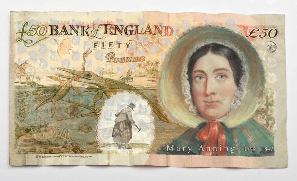 Had to share this brilliant artwork of how we see the new £50 note for Mary with the illustration &quot;Duria Antiqua&quot; by Henry de la Beche included! Please continue to share and nominate, we have till the 14th Dec #fossils #fossil #fossilfriday #dinosaur #museum #DavidAttenborough<br>http://pic.twitter.com/8xQHozazyi