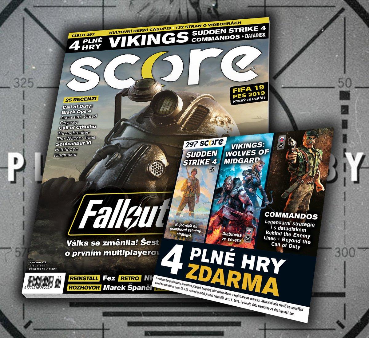 SCORE 297 už je v prodeji! Plné verze Vikings, Sudden Strike 4 a Commandos 1 s datadiskem. Zoom Fallout 76, recenze Black Ops 4, Call of Cthulhu, rozhovor s Markem Španělem, retro o NHL Hockey a mnohem víc! https://t.co/BJlYt9Mmq0