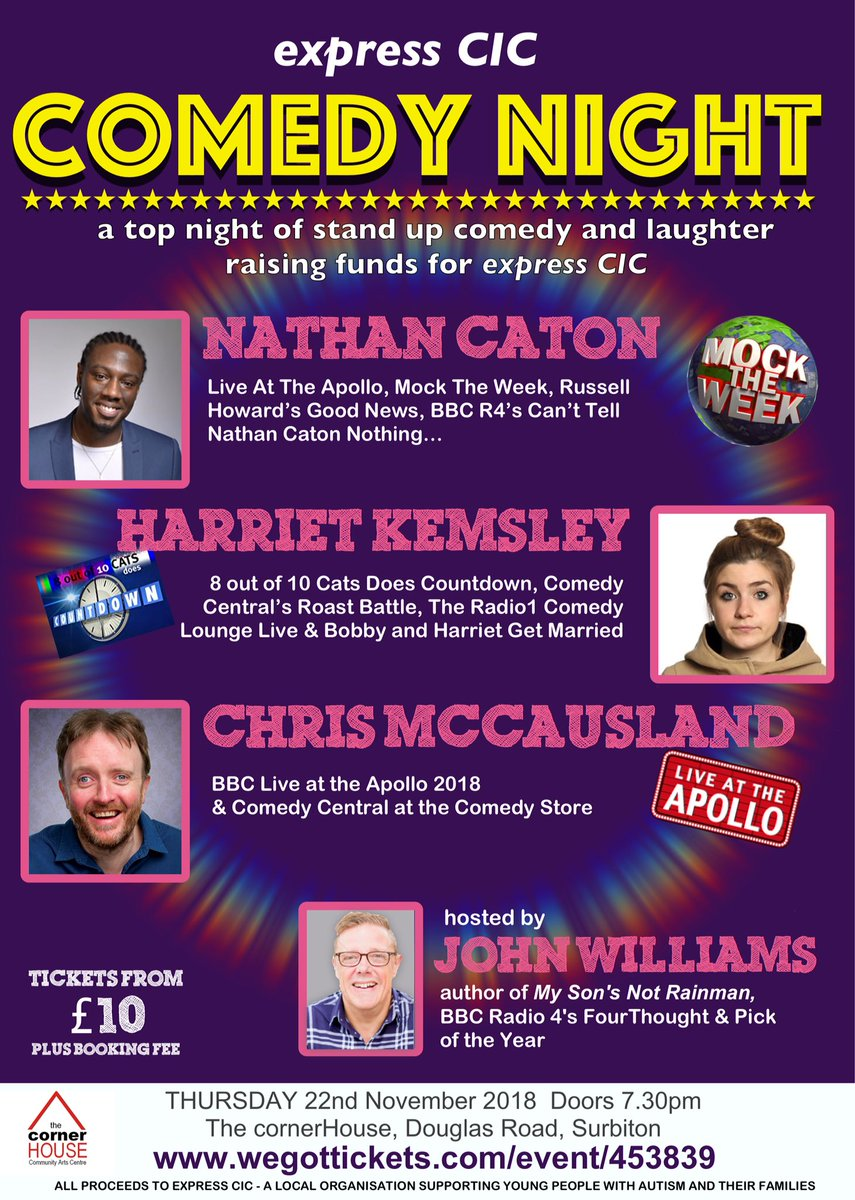 RT @expresscic Lovely people please do join us for a fab night of #comedy to raise funds for @expresscic with @NathanCaton @harrietkemsley @chrismccausland John Williams @OTBcomedy @cornerHOUSEarts  Book now https://t.co/1k6xdmvkGa Pls RT