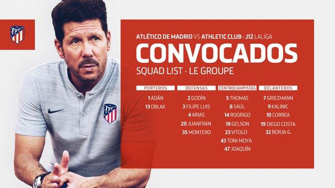 📋 | CONVOCATORIA 👇 ¡Aquí os dejamos la lista de convocados de @Simeone para el partido de mañana ante el @AthleticClub! #AúpaAtleti #AtletiAthletic Foto