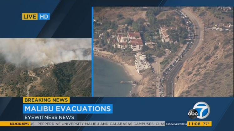 Malibu : LIVE heavy traffic PCH Malibu residents forced evacuate Ful