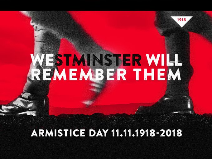Westminster pays tribute to those who lost their lives in the First World War on the Piccadilly Lights ahead of a weekend of #Armistice100 commemorations #WestminsterRemembers Photo