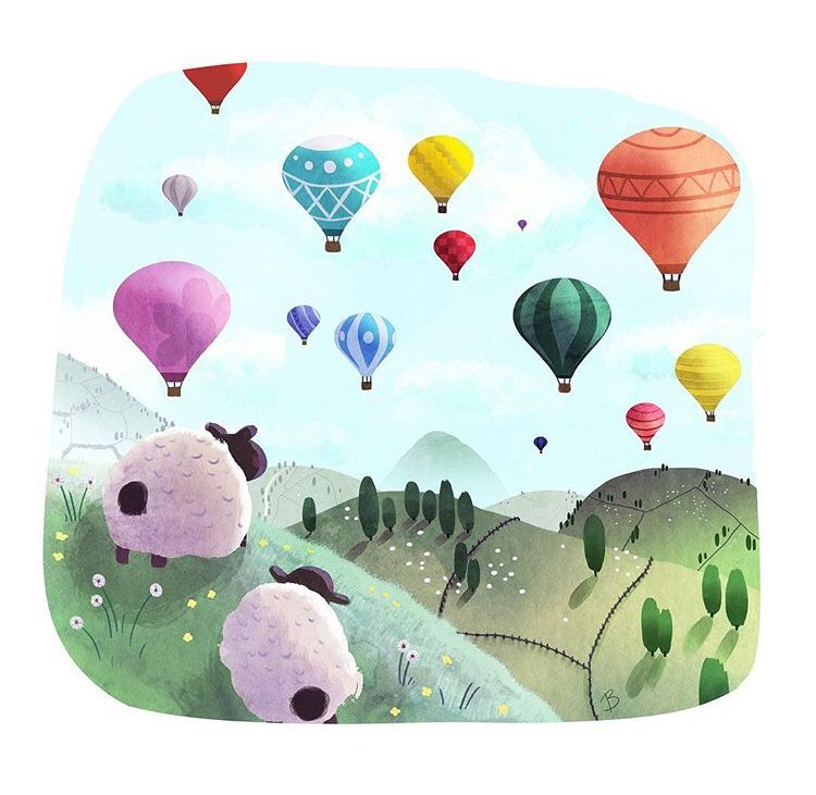 The sheep and balloons for this week's #colour_collective   #illustration #kidlitart #animals #sheep #art<br>http://pic.twitter.com/IlfzN65zMc