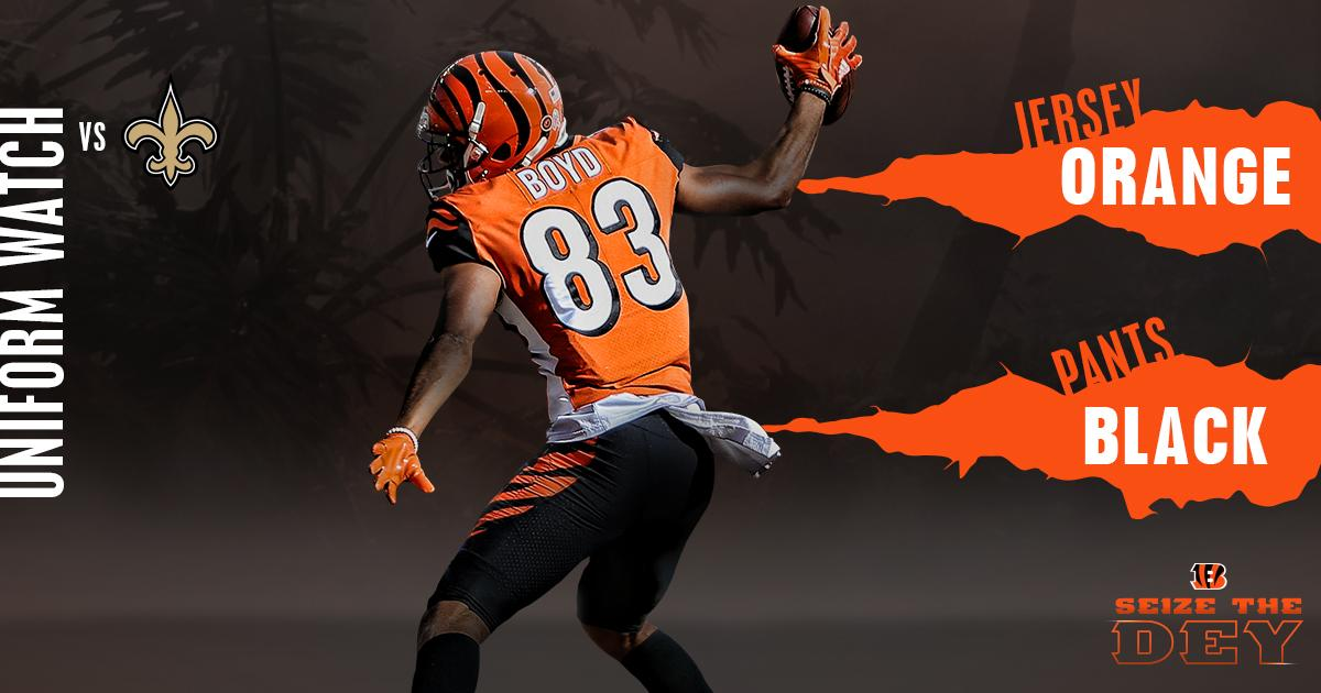 The #Bengals are 6-0 when wearing this uniform combo. ��  #NOvsCIN #SeizeTheDEY https://t.co/a5pIOs12JL