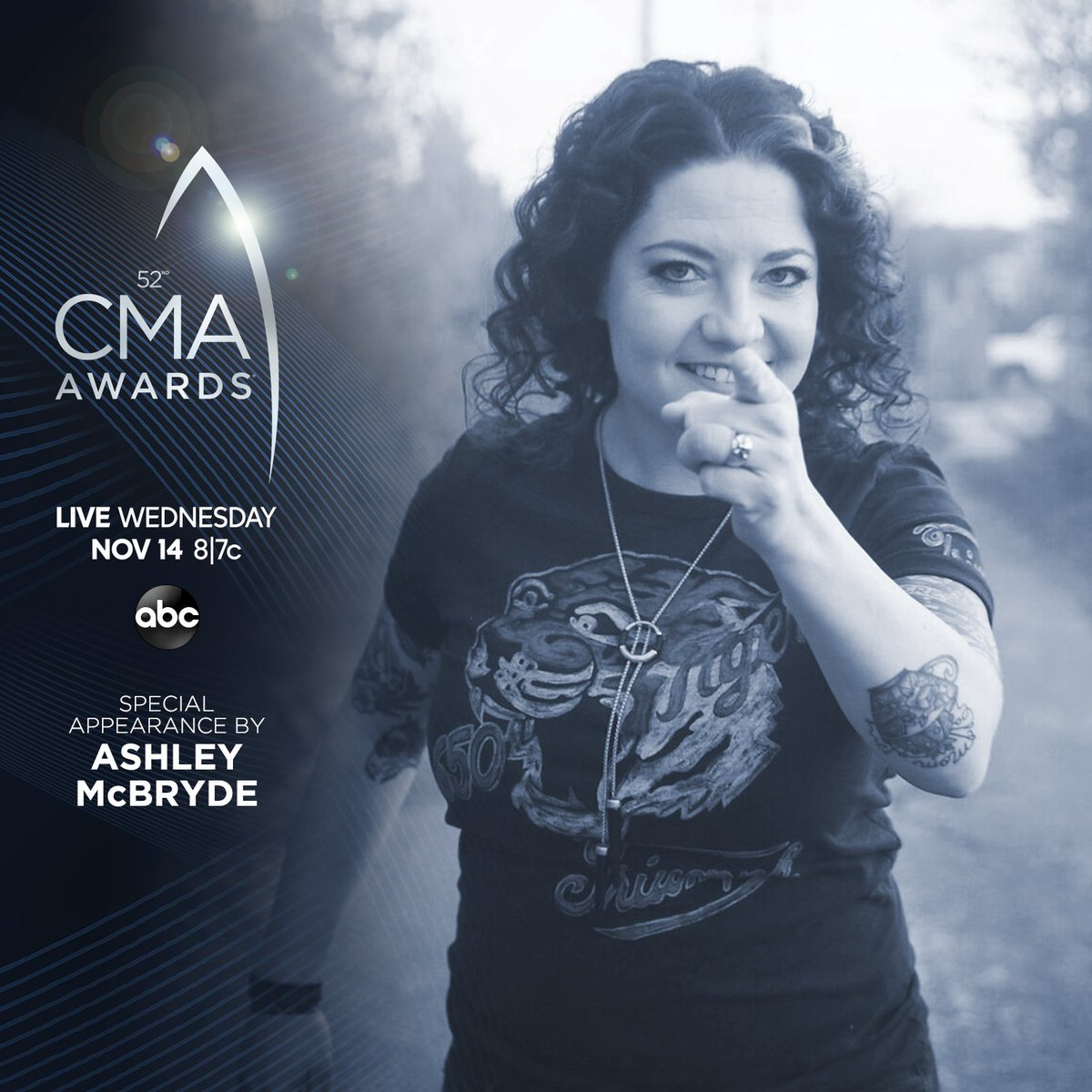Dont miss a special appearance by @AshleyMcBryde on the #CMAawards this Wednesday at 8|7c on @ABCNetwork. CMAawards.com
