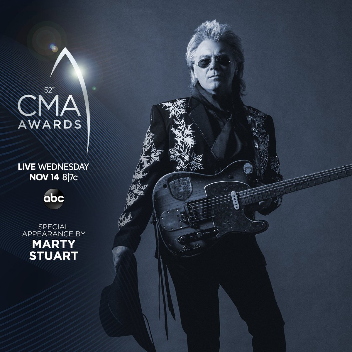 Just announced: @MartyStuartHQ will make a special appearance at the #CMAawards this Wednesday at 8|7c on @ABCNetwork. CMAawards.com