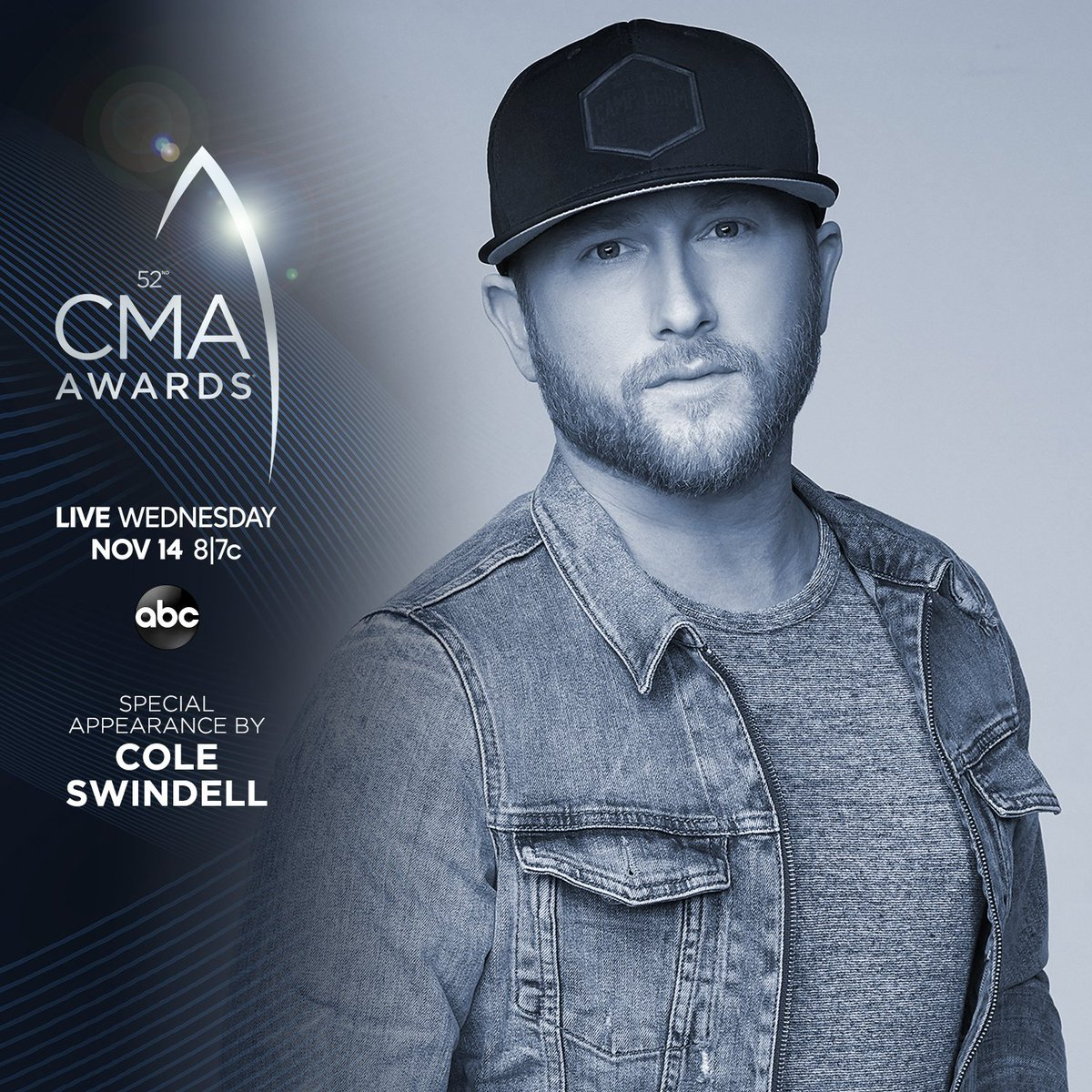The secret is out! @ColeSwindell will make a special appearance during the #CMAawards Wednesday at 8|7c on @ABCNetwork. CMAawards.com